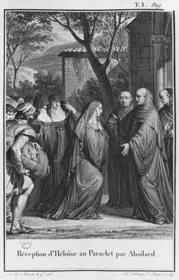 Abelard welcoming Heloise at Paraclete, illustration from 'Lettres d'Heloise et d'Abelard', volume I, 1795