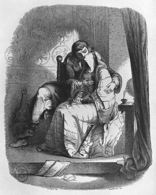 Heloise and Abelard kissing, illustration from 'Lettres d'Heloise et d'Abelard', 1839