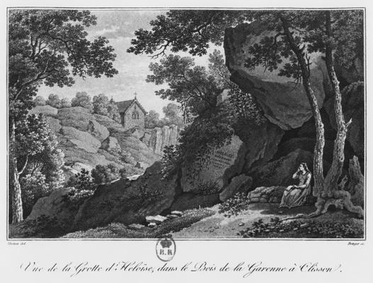 View of Heloise grotto in the park of La Garenne at Clisson, illustration from 'Voyage pittoresque dans le bocage de la Vendee ou vues de Clisson et de ses environs', 1817
