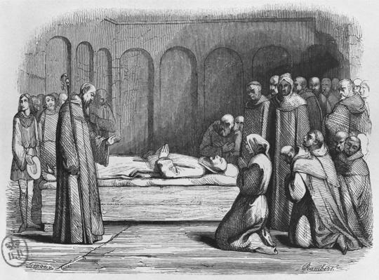 Death of Abelard, illustration from 'Lettres d'Heloise et d'Abelard', 1839