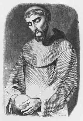 Abelard as monk at Saint-Gildas-de-Rhuys, illustration from 'Lettres d'Heloise et d'Abelard', engraved by Pierre Francois Godard