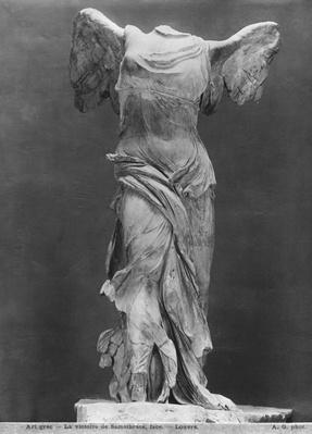 View of the Victory of Samothrace in the Louvre museum, before 1902