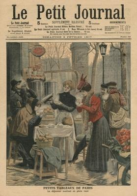 Street scenes of Paris, breakfast in open air, illustration from 'Le Petit Journal', supplement illustre, 3rd February 1907