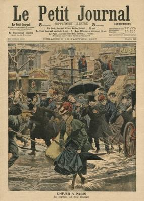 Winter in Paris, walking in the mud, illustration from 'Le Petit Journal', supplement illustre, 13th January 1907