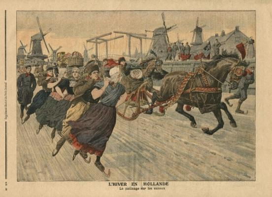 Winter in Holland, ice skating on the canal, illustration from 'Le Petit Journal', supplement illustre, 13th January 1907
