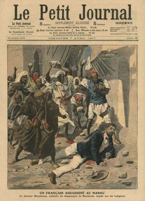 Stoning of French doctor Mauchamp in Morocco, illustration from 'Le Petit Journal', supplement illustre, 7th April 1907