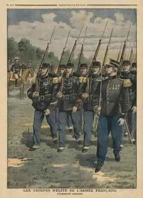 Elite troops of French army, the colonial infantry, illustration from 'Le Petit Journal', supplement illustre, 6th October 1907