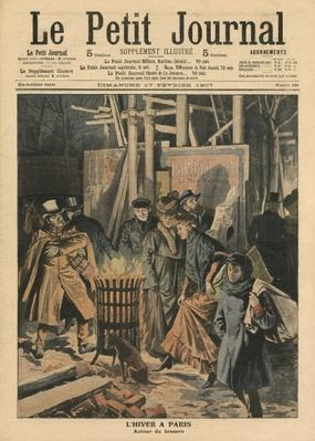 Winter in Paris, around the brazier, illustration from 'Le Petit Journal', supplement illustre, 17rd February 1907