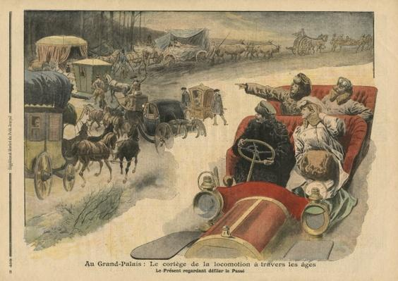 At the Grand Palais, history of locomotion throughout the ages, illustration from 'Le Petit Journal', supplement illustre, 22nd December 1907 by French School, (20th century)