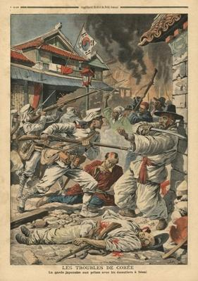 Unrest in Seoul, Korea, illustration from 'Le Petit Journal', supplement illustre, 4th August 1907
