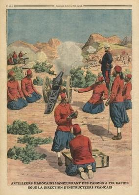 Moroccan artillerymen using cannons under the command of French instructors, illustration from 'Le Petit Journal', supplement illustre, 26th March 1911