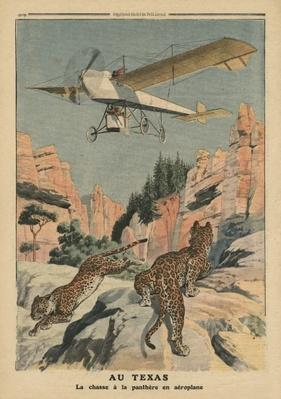 Hunting panthers from an airplane in Texas, illustration from 'Le Petit Journal', supplement illustre, 17th December 1911
