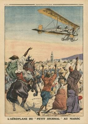 The 'Petit Journal' airplane flying over Morocco, illustration from 'Le Petit Journal', supplement illustre, 1st October 1911
