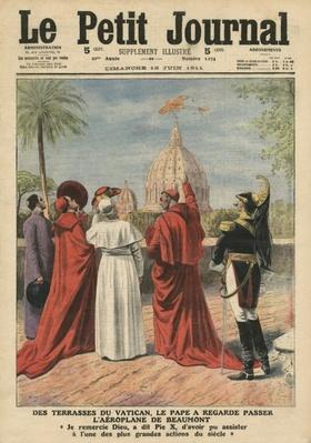 Pope Pius X watching the airplane of Andre Beaumont flying over Rome from the Vatican terrace, illustration from 'Le Petit Journal', supplement illustre, 18th June 1911