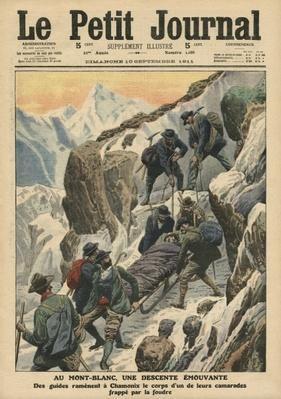 A moving descent down the Mont Blanc, illustration from 'Le Petit Journal', supplement illustre, 10th September 1911