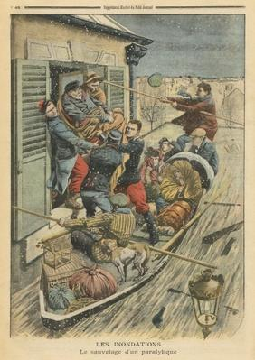 Floods, rescuing a paralytic, illustration from 'Le Petit Journal', supplement illustre, 6th February 1910