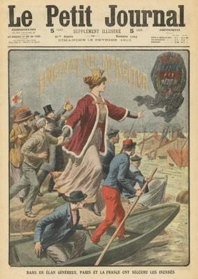 Generosity of the City of Paris and France in rescuing the victims of the floods, illustration from 'Le Petit Journal', supplement illustre, 13th February 1910
