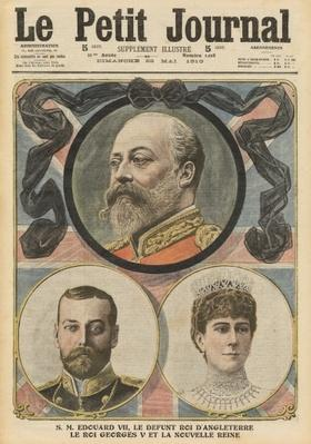 Death of King Edward VII, King George V and Queen Mary, illustration from 'Le Petit Journal', supplement illustre, 22nd May 1910