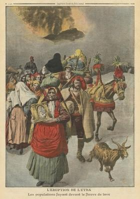 Eruption of Mount Etna, illustration from 'Le Petit Journal', supplement illustre, 10th April 1910