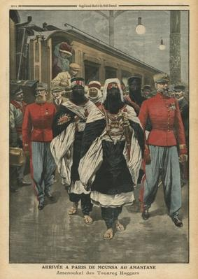 Moussa Ag Amastane arriving in Paris, illustration from 'Le Petit Journal', supplement illustre, 21st August 1910