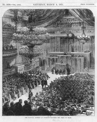 The National Assembly at Bordeaux discussing the terms of peace, the 4th of March 1871