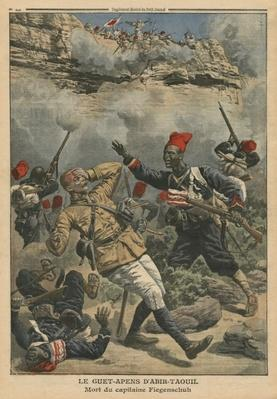 Ambush at Abir-Taouil, death of Captain Fiegenschuh, illustration from 'Le Petit Journal', supplement illustre, 6th March 1910
