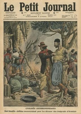 Chilean bandits devouring Armenian emigrants, illustration from 'Le Petit Journal', supplement illustre, 3rd April 1910