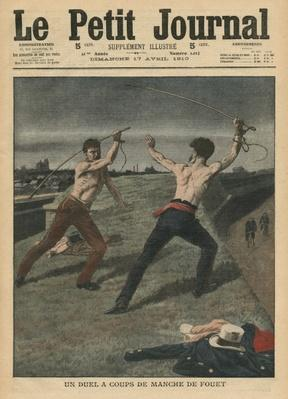 Fighting a duel with whips, illustration from 'Le Petit Journal', supplement illustre, 17th April 1910
