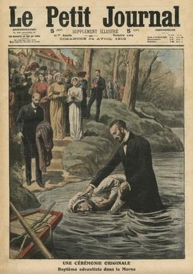 An unusual ceremony, an Adventist baptism in La Marne, illustration from 'Le Petit Journal', supplement illustre, 24th April 1910