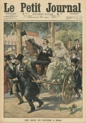 A wedding on a handcart, illustration from 'Le Petit Journal', supplement illustre, 15th May 1910