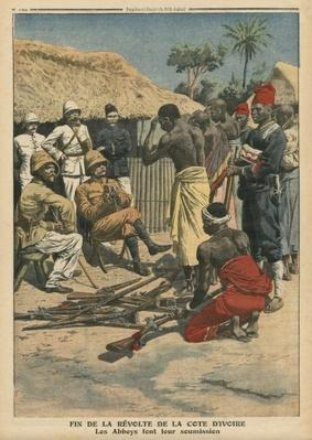 End of the revolt of the Cote d'Ivoire, the Abbeys surrendering to commander Nogues, illustration from 'Le Petit Journal', supplement illustre, 15th May 1910