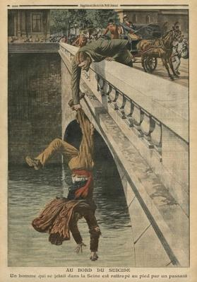 On the brink of suicide, illustration from 'Le Petit Journal', supplement illustre, 19th June 1910