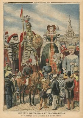 A picturesque and traditional feast, the procession of the Giants at Valenciennes, illustration from 'Le Petit Journal', supplement illustre, 10th July 1910