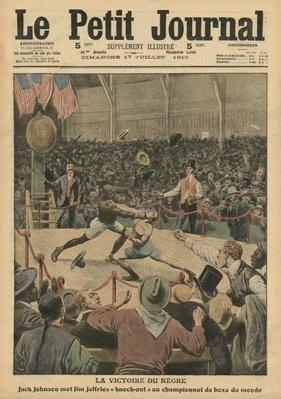 The victory of the negro, Jack Johnson knocks Jim Jeffries out at the world boxing championship, illustration from 'Le Petit Journal', supplement illustre, 17th July 1910