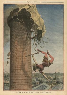 Dreadful parachute drop, Viola Spencer, illustration from 'Le Petit Journal', supplement illustre, 24th July 1910