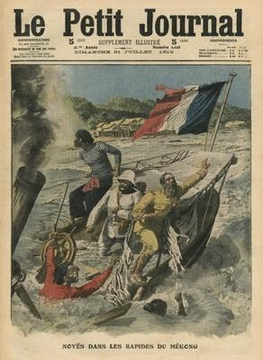 Drowning in the Mekong rapids, illustration from 'Le Petit Journal', supplement illustre, 31st July 1910