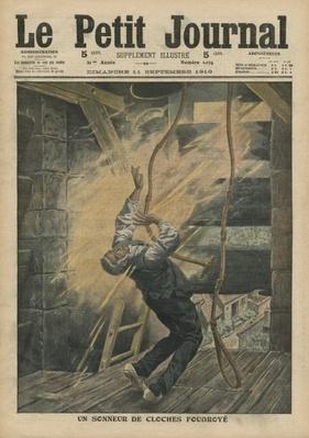 A bell ringer struck by lightning, illustration from 'Le Petit Journal', supplement illustre, 11th September 1910