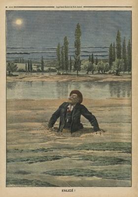 Stuck in quicksand, illustration from 'Le Petit Journal', supplement illustre, 11th September 1910
