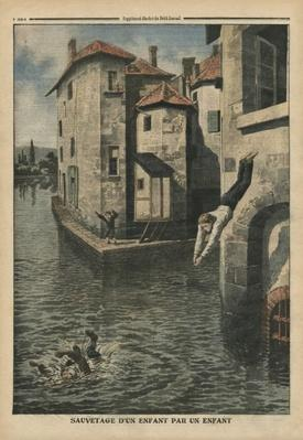 A child rescuing an other child, illustration from 'Le Petit Journal', supplement illustre, 18th September 1910