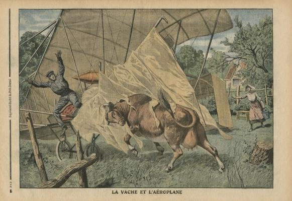 The cow and the airplane, illustration from 'Le Petit Journal', supplement illustre, 25th September 1910