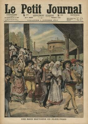 A Breton wedding right in Paris, illustration from 'Le Petit Journal', supplement illustre, 2nd October 1910