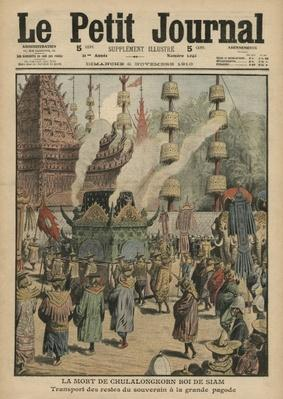 The Death of Chulalongkorn, King of Siam, illustration from 'Le Petit Journal', 6th November 1910