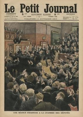 A stormy session at the Chamber of Deputies, illustration from 'Le Petit Journal', supplement illustre, 13th November 1910