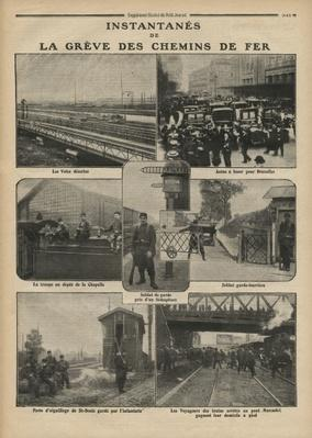 Snapshots of the rail strike, illustration from 'Le Petit Journal', supplement illustre, 23rd October 1910