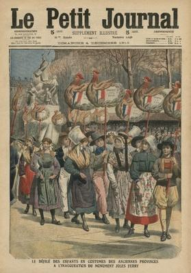 Children dressed in costumes of the provinces parading at the inauguration of the monument Jules Ferry, Paris, illustration from 'Le Petit Journal', supplement illustre, 4th December 1910