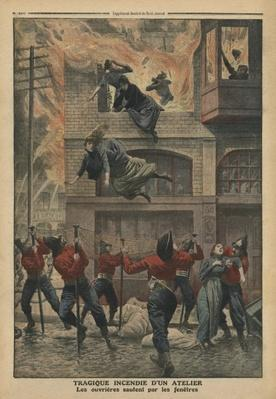 Tragic fire in a workshop at Newark, New Jersey, illustration from 'Le Petit Journal', supplement illustre, 11th December 1910