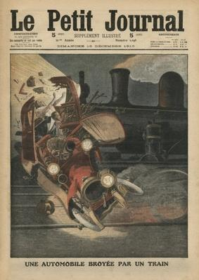 A motor car crushed by a train, illustration from 'Le Petit Journal', supplement illustre, 18th December 1910