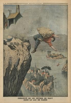 Falling in Lake Garda, illustration from 'Le Petit Journal', supplement illustre, 18th December 1910