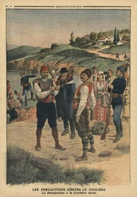 Precautions taken to prevent cholera, disinfection at the Serbian border, illustration from 'Le Petit Journal', 1st January 1911