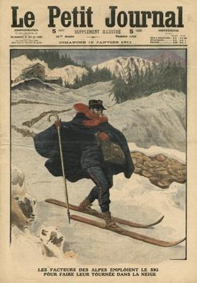 Alpine postmen using ski during their rounds in the snow, illustration from 'Le Petit Journal', supplement illustre, 15th January 1911